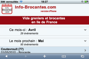 Calendrier des brocantes - Version iPhone