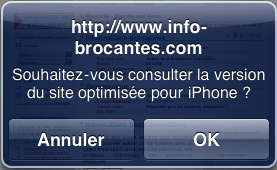 Invitation à utiliser la version iPhone