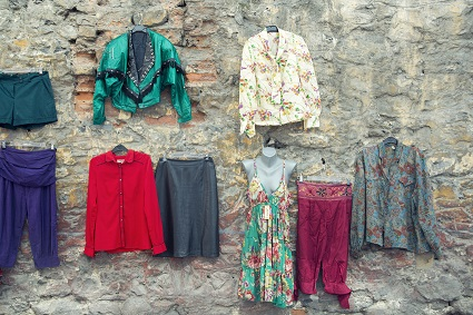 Hippies clothes on the wall